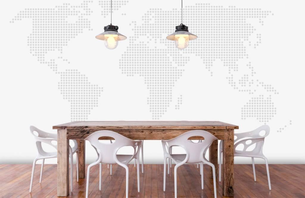 Woonkamer Met Wereldkaart : Behang met gestippelde wereldkaart fotobehang