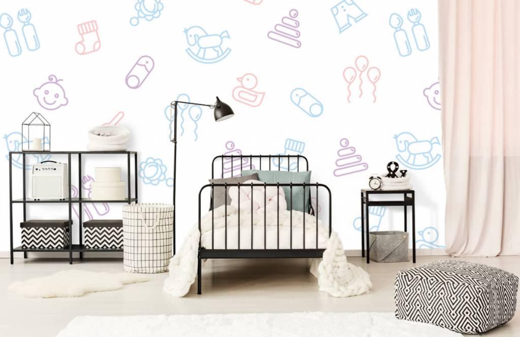 Kinderkamer Patronen Behang : Behang met baby patroon fotobehang