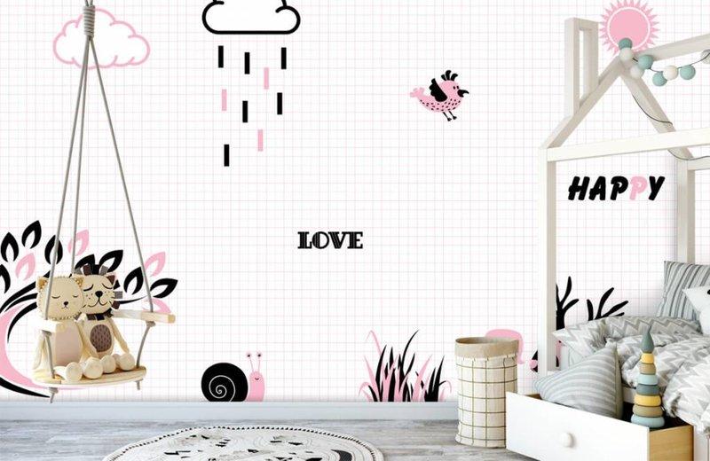 Hip roze behang voor de babykam - Fotobehang