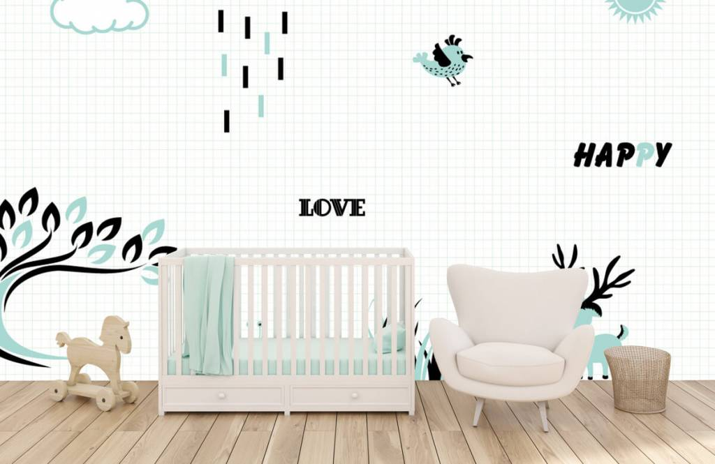 Behang Babykamer Neutraal.Hip Behang Babykamer
