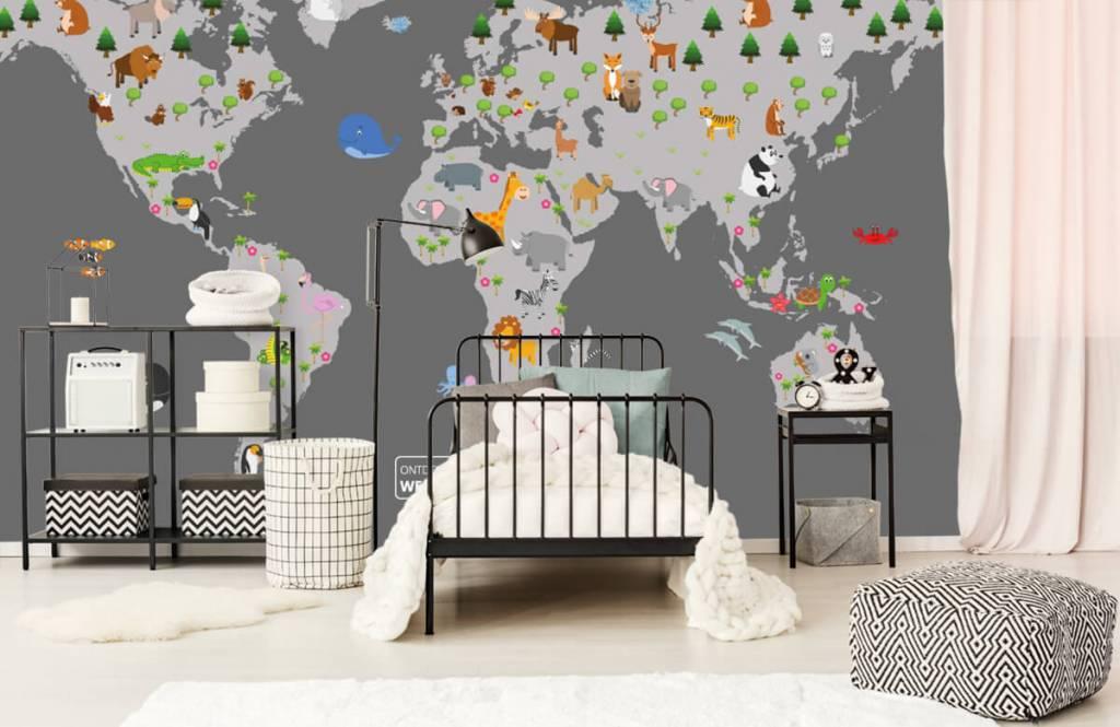 Kinderkamer Patronen Behang : Behang met een wereldkaart voor kinderen grijs fotobehang