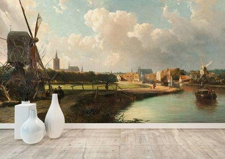 Gezicht op Den Haag vanaf de Delftse vaart in de zeventiende eeuw