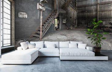 Eenvoudige Industrieel Woonkamer : Industrieel behang en fotobehang met industriële uitstraling