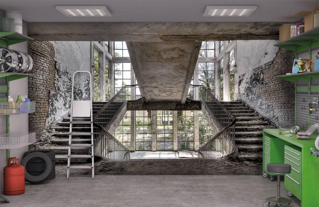 Trappenhuis in militaire school fotobehang