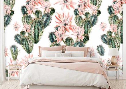 Cactussen met bloemen