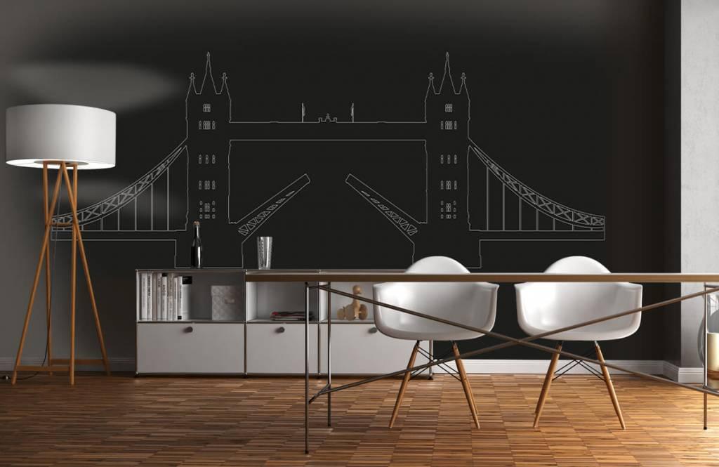 WallMappy Panorama Tower Bridge, zwart