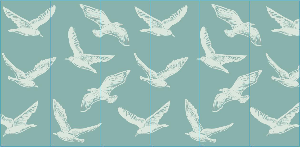 Vogels met groene achtergrond- outlet - 460 x 220 cm