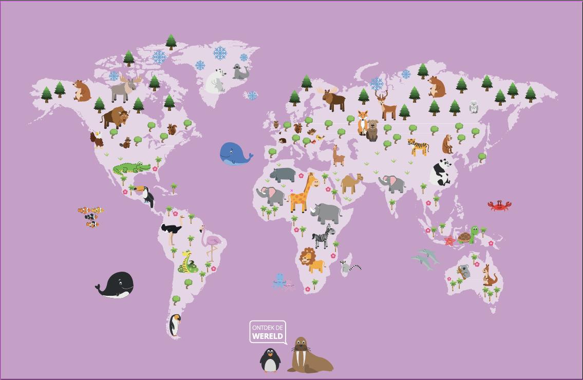 Wereldkaart kinderen roze - outlet - 428 x 240 cm