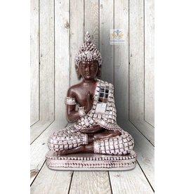 Boeddha Thais beeld zittend bruin zilver 14 cm