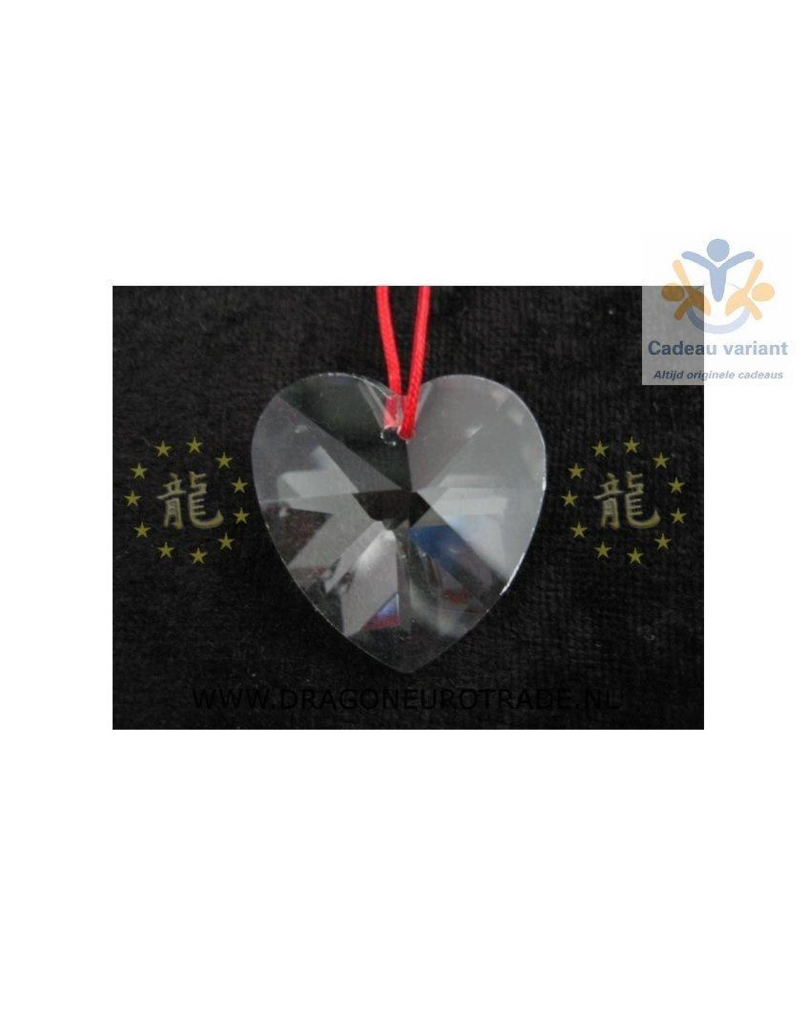 Raamkristal hart met rood touw