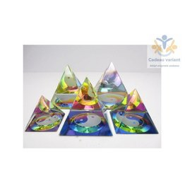 Kristallen piramide Yin Yang 6x6 cm