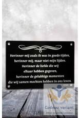 Gedenkplaat herinner mij