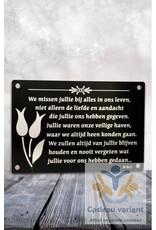 Gedenkplaat we missen jullie -ouders-