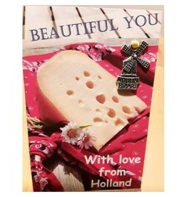 Mooi mens kaarten Beautiful You with love from Holland cheese