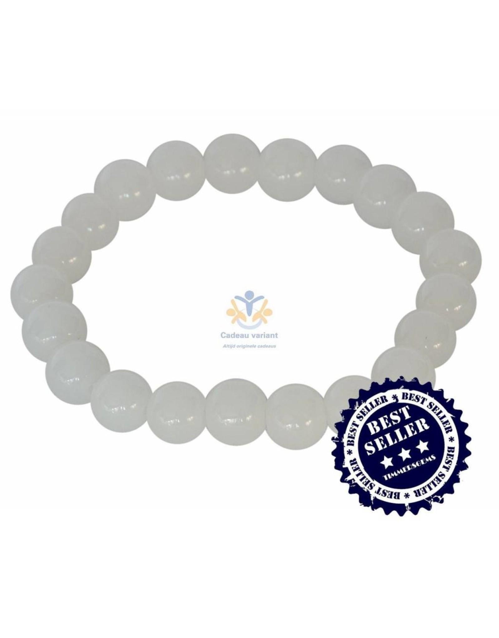 Jade wit kralen armband