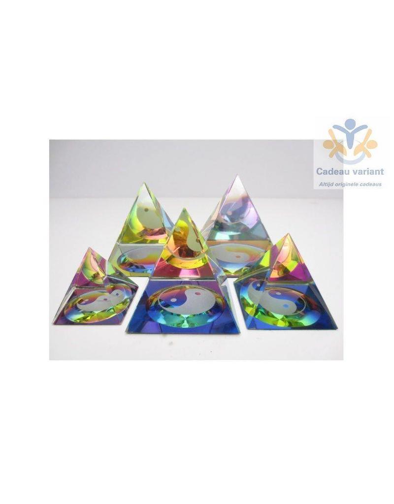 Kristallen piramide Yin Yang 5 cm