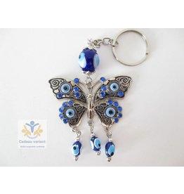 Boze oog sleutelhanger met vlinder
