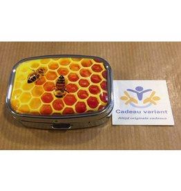 Honinggraat pillendoosje 2 vakken