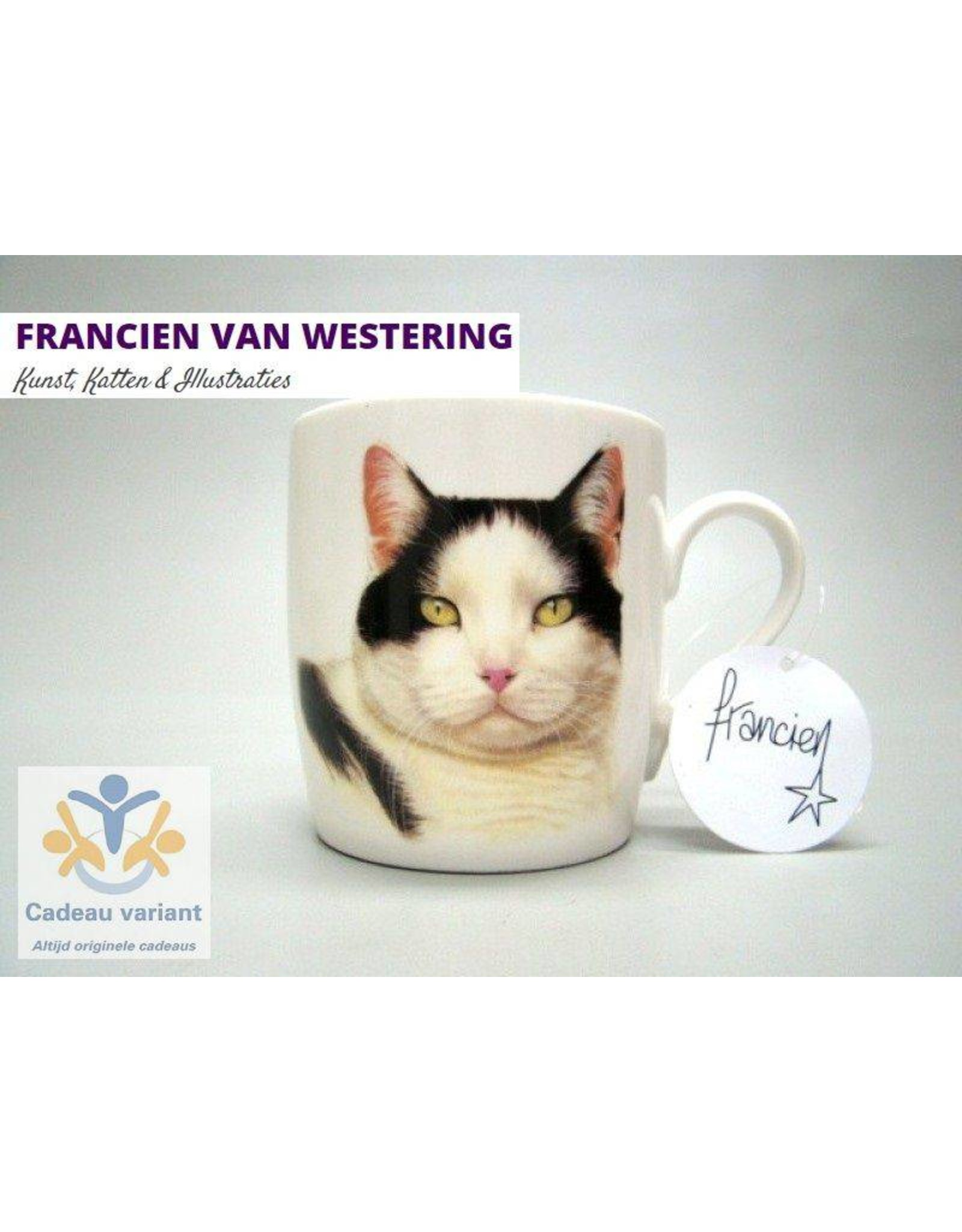 Francien van Westering Poes mok zwart wit Francien