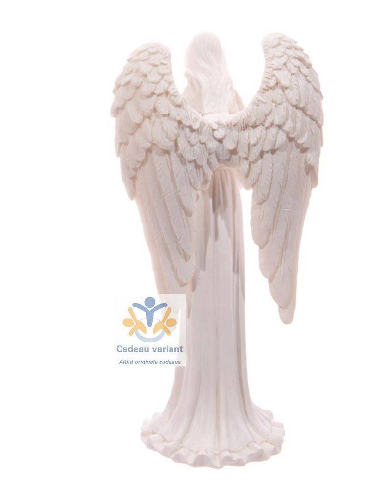 Engel beeld biddend wit