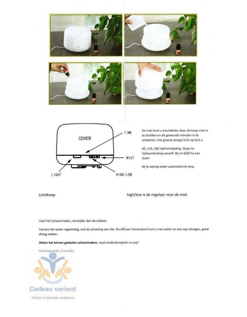 Volatile Diffuser groot 500 ml water reservoir