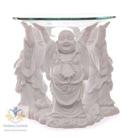 Boeddha lachende waxinelichthouder wit