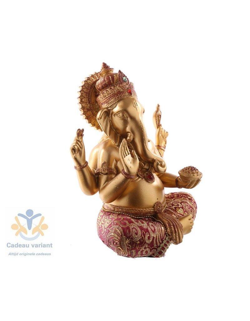 Ganesha Goud rood  19 cm