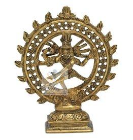 Shiva Nataraja messing dubbele ring goudkleurig