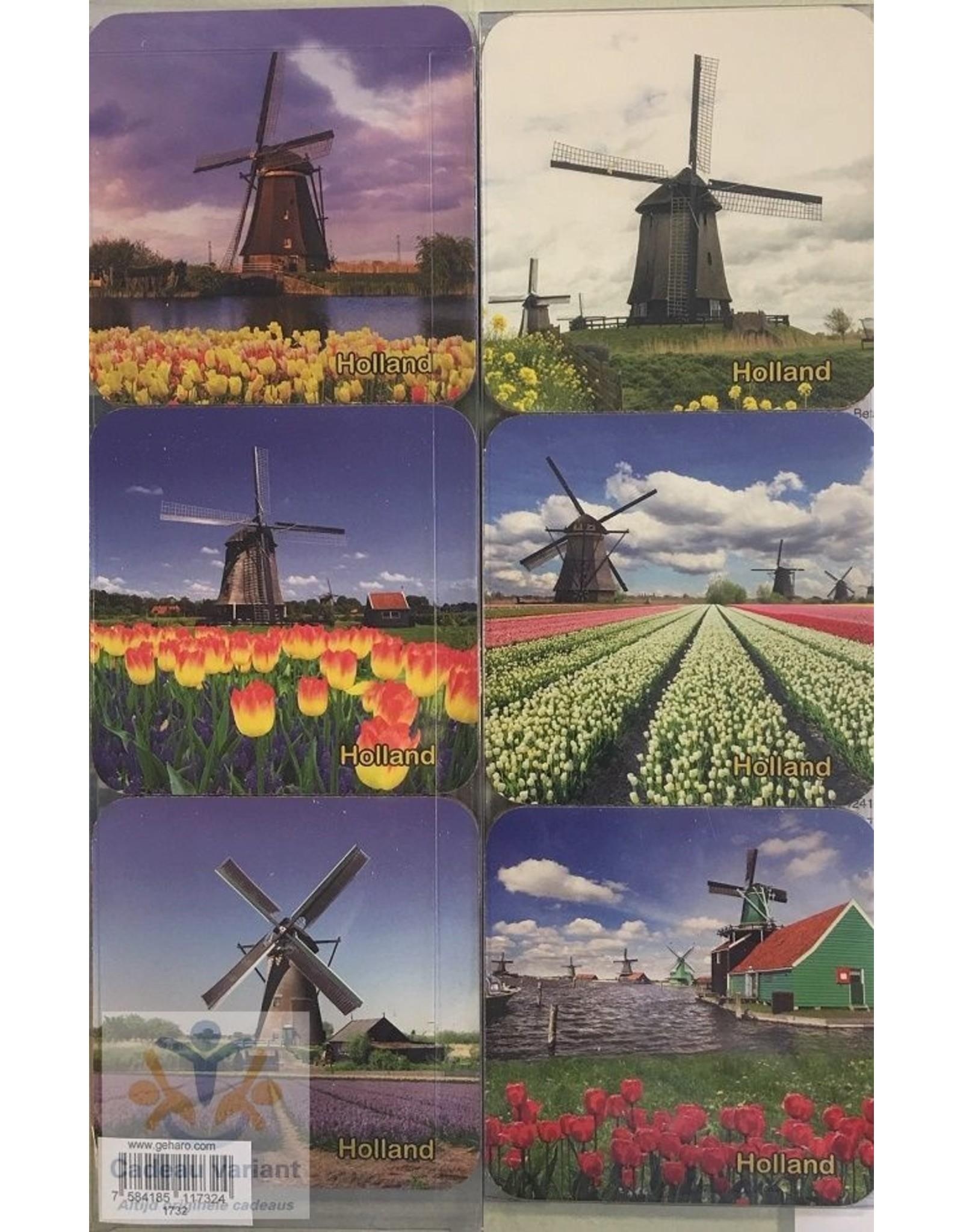Souvenir Holland Holland onderzetters molen (6 stuks)
