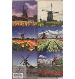 Souvenir Holland Holland onderzetters windmolen (6 stuks)