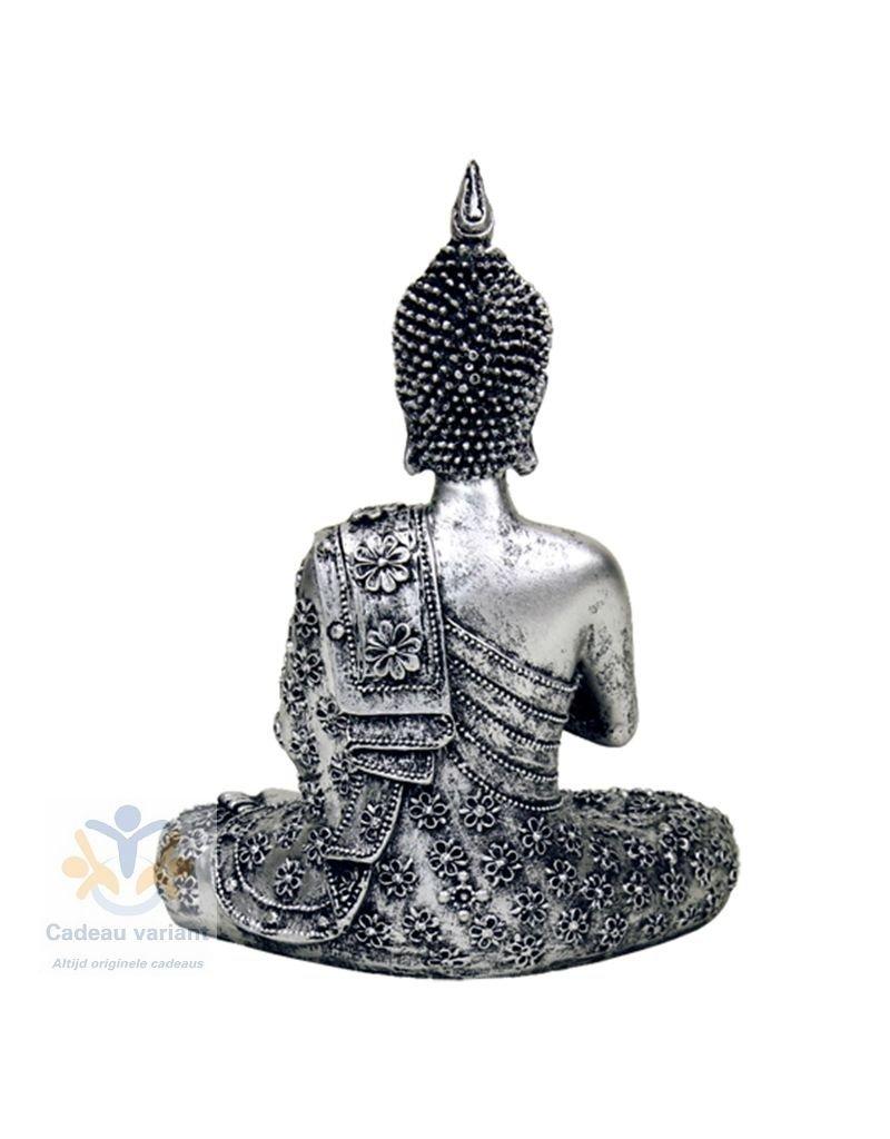Boeddha meditatie waxinelichthouder zilver