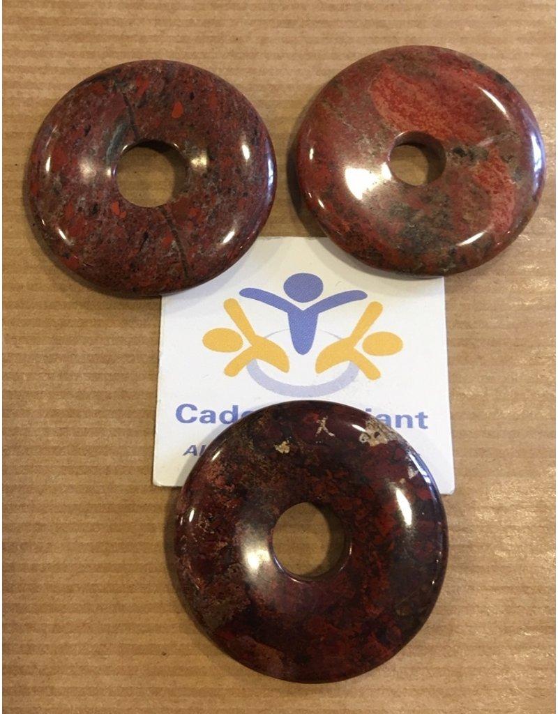 Jaspis breccie donut edelsteenhanger 3 cm
