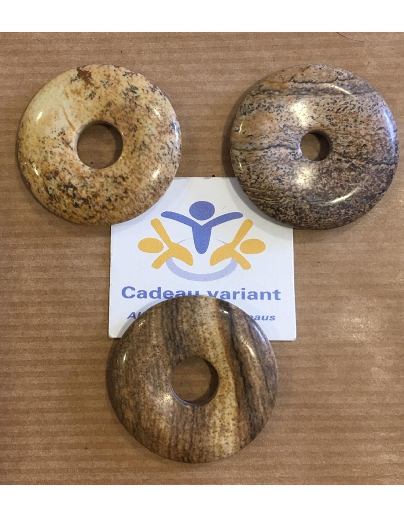 Jaspis landschap donut edelsteenhanger 3 cm