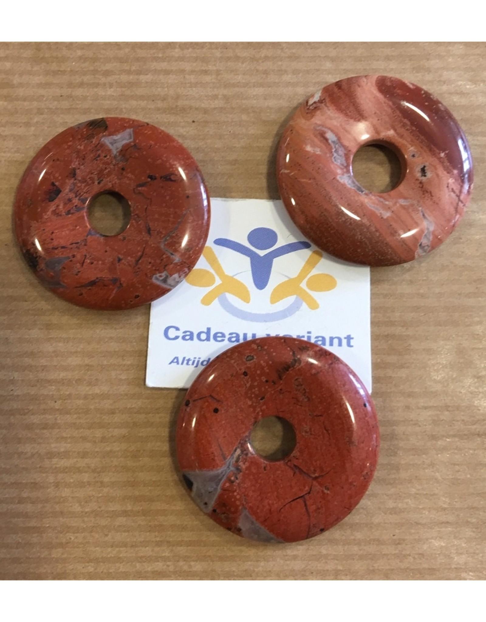 Jaspis rood donut edelsteenhanger 3 cm