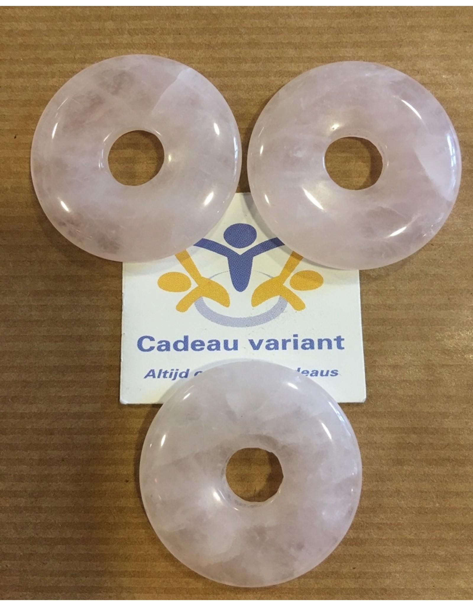 Rozenkwarts donut edelsteenhanger 3 cm