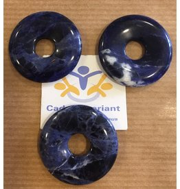 Sodaliet donut edelsteenhanger 3 cm