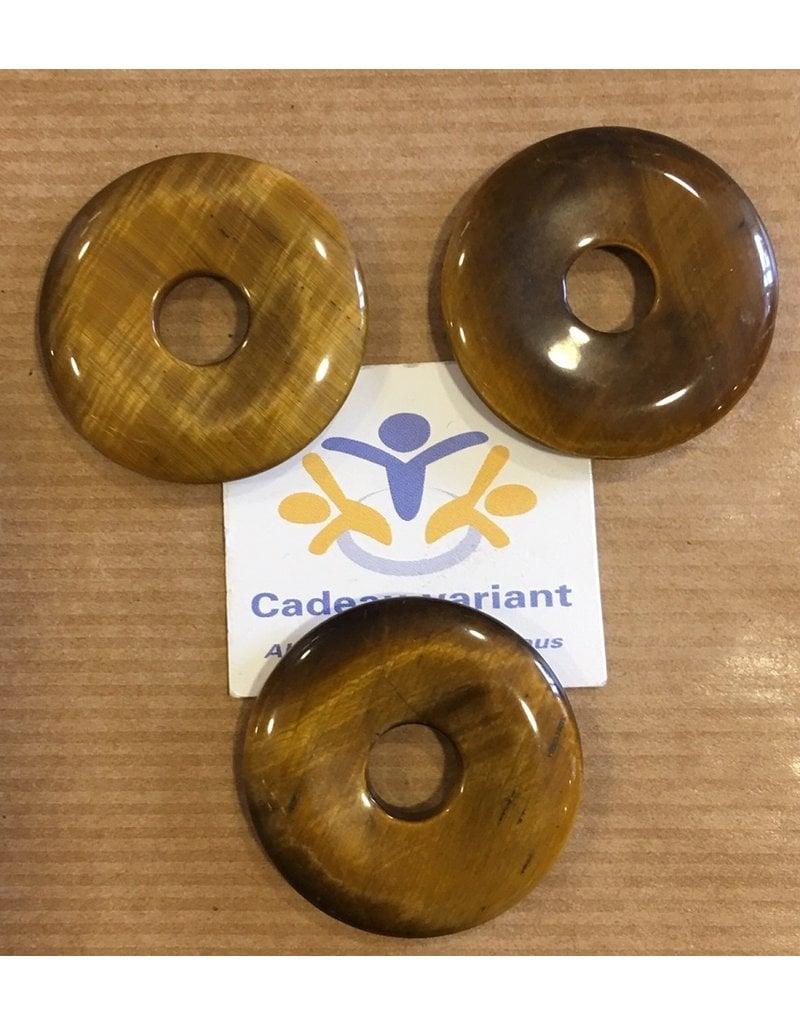 Tijgeroog  donut edelsteen hanger 3 cm