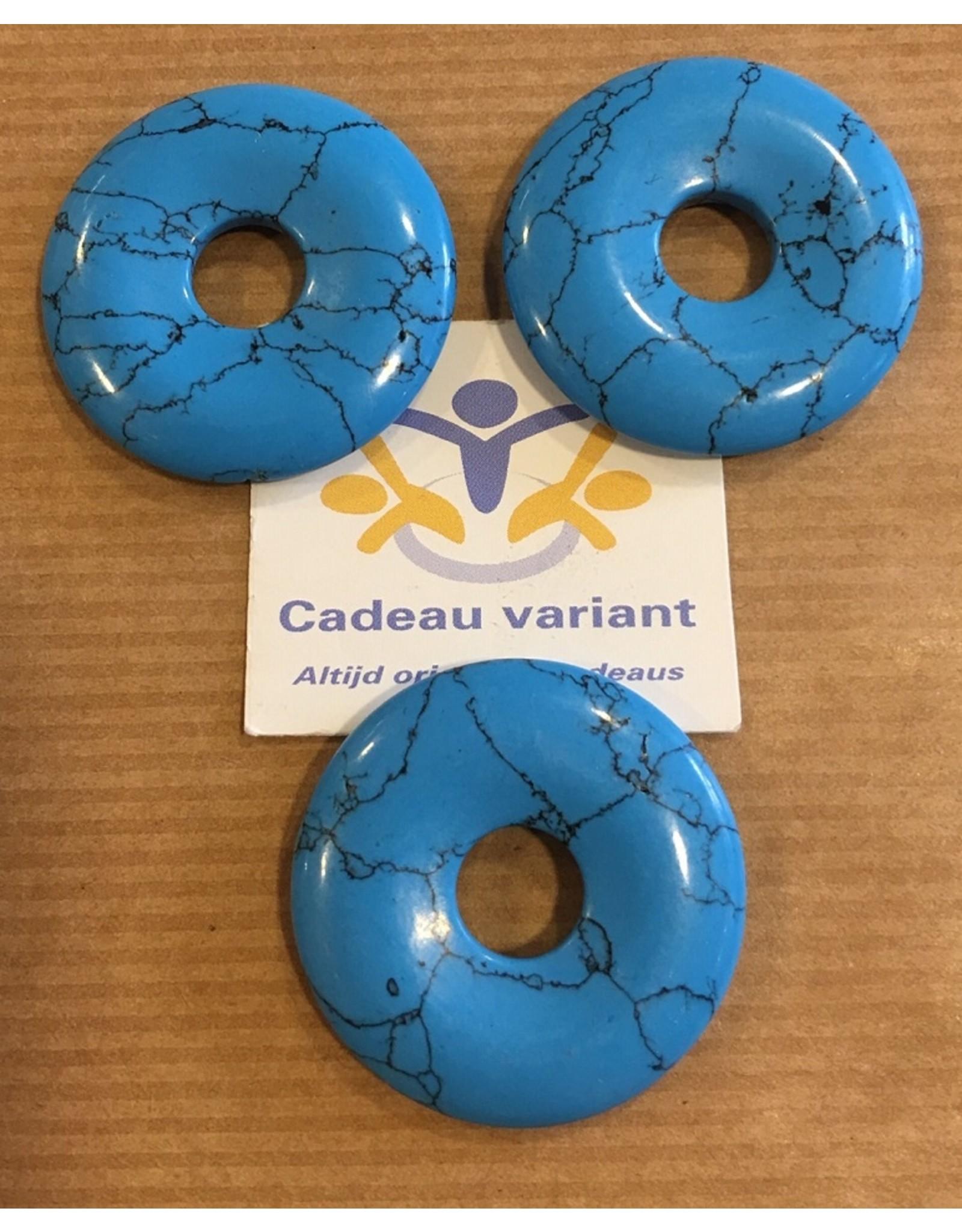 Turqueniet donut edelsteen hanger 3 cm