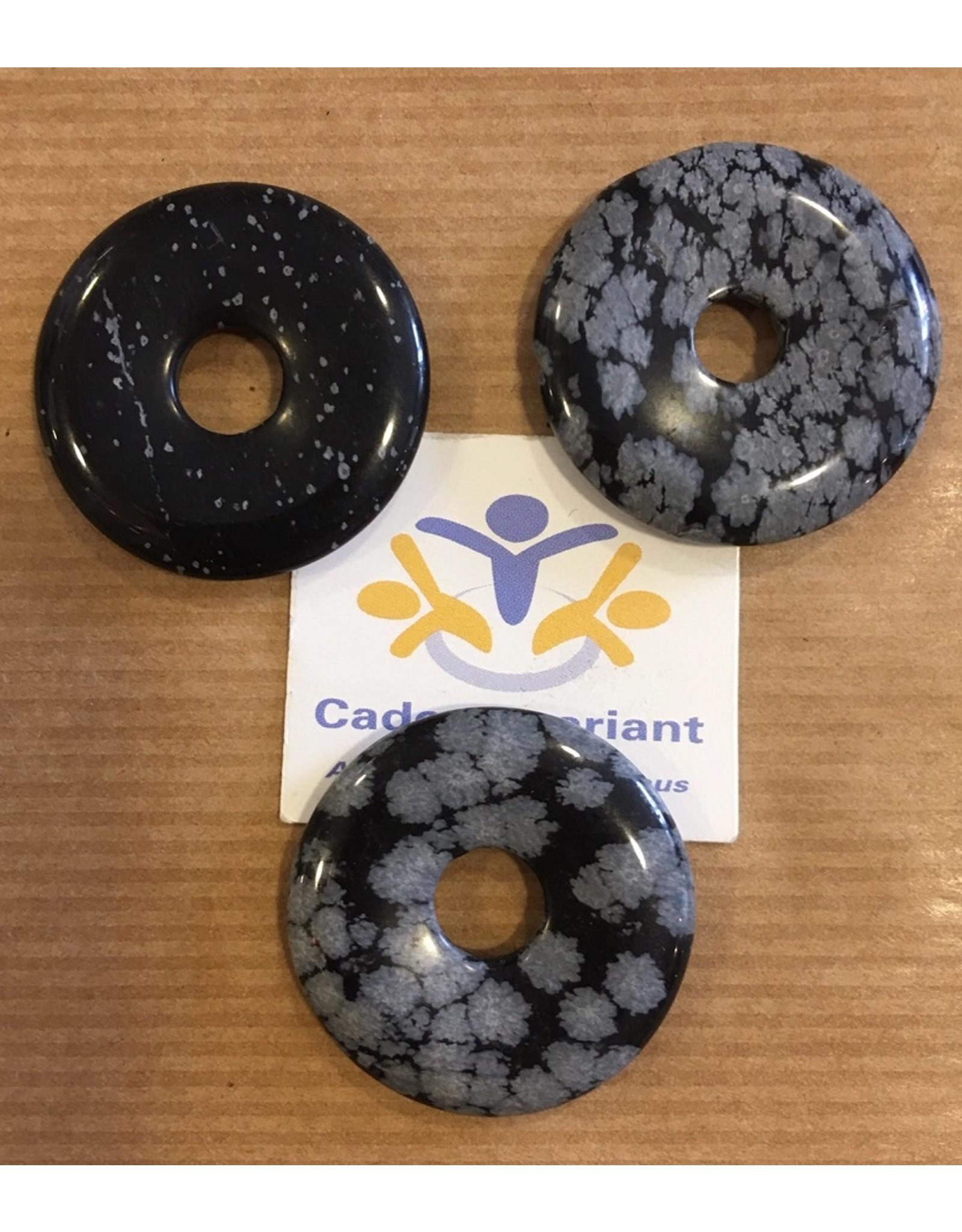 Obsidiaan sneeuwvlok donut edelsteenhanger 3 cm