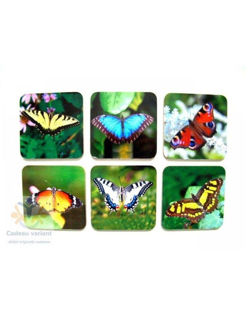 Vlinder onderzetters (6 stuks)