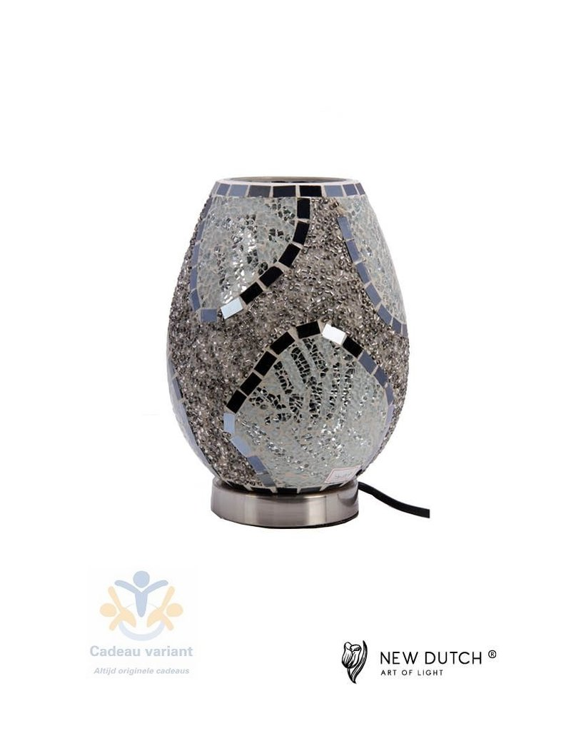 Mozaïek glas lamp zilver bruin zwart 23 cm