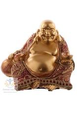 Boeddha beeld goud en rood 9 cm