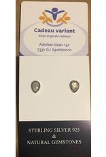 Maansteen wit zilver knoop oorbellen