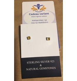 Citrien edelsteen knoop oorbellen zilver (oorsteker)