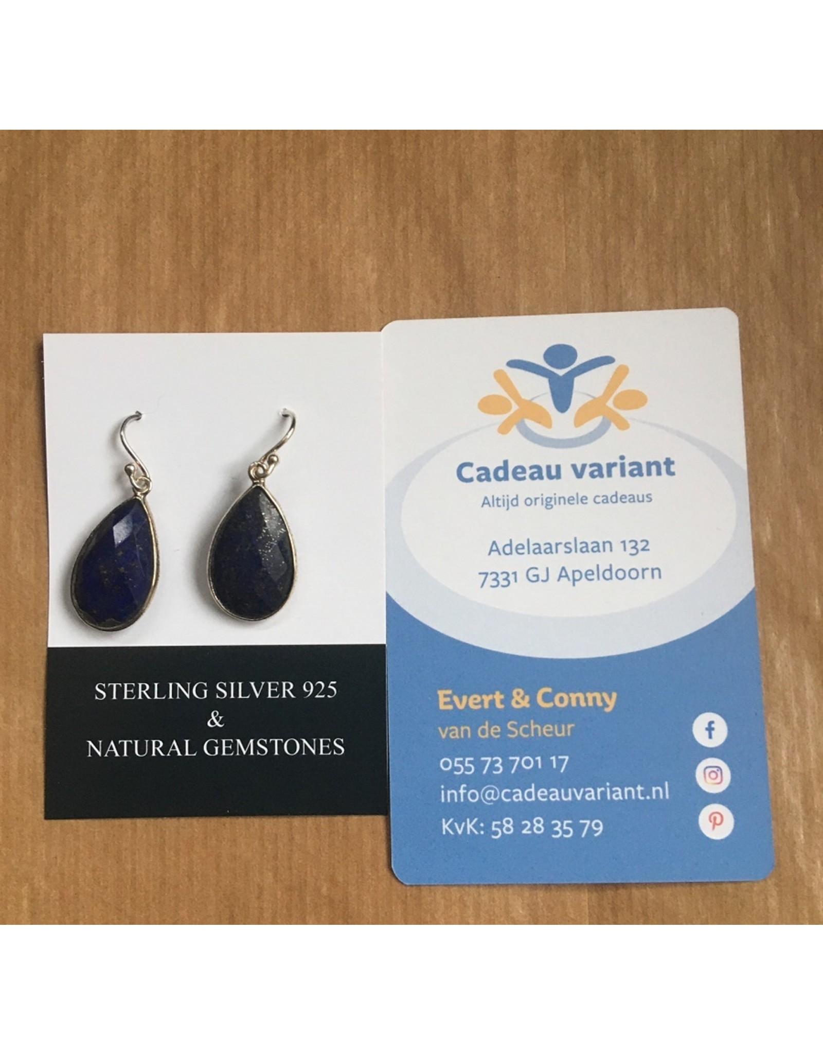 Lapis Lazuli  druppel oorbellen zilver