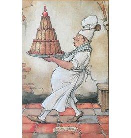 Anton Pieck Bakker met taart Anton Pieck wenskaart