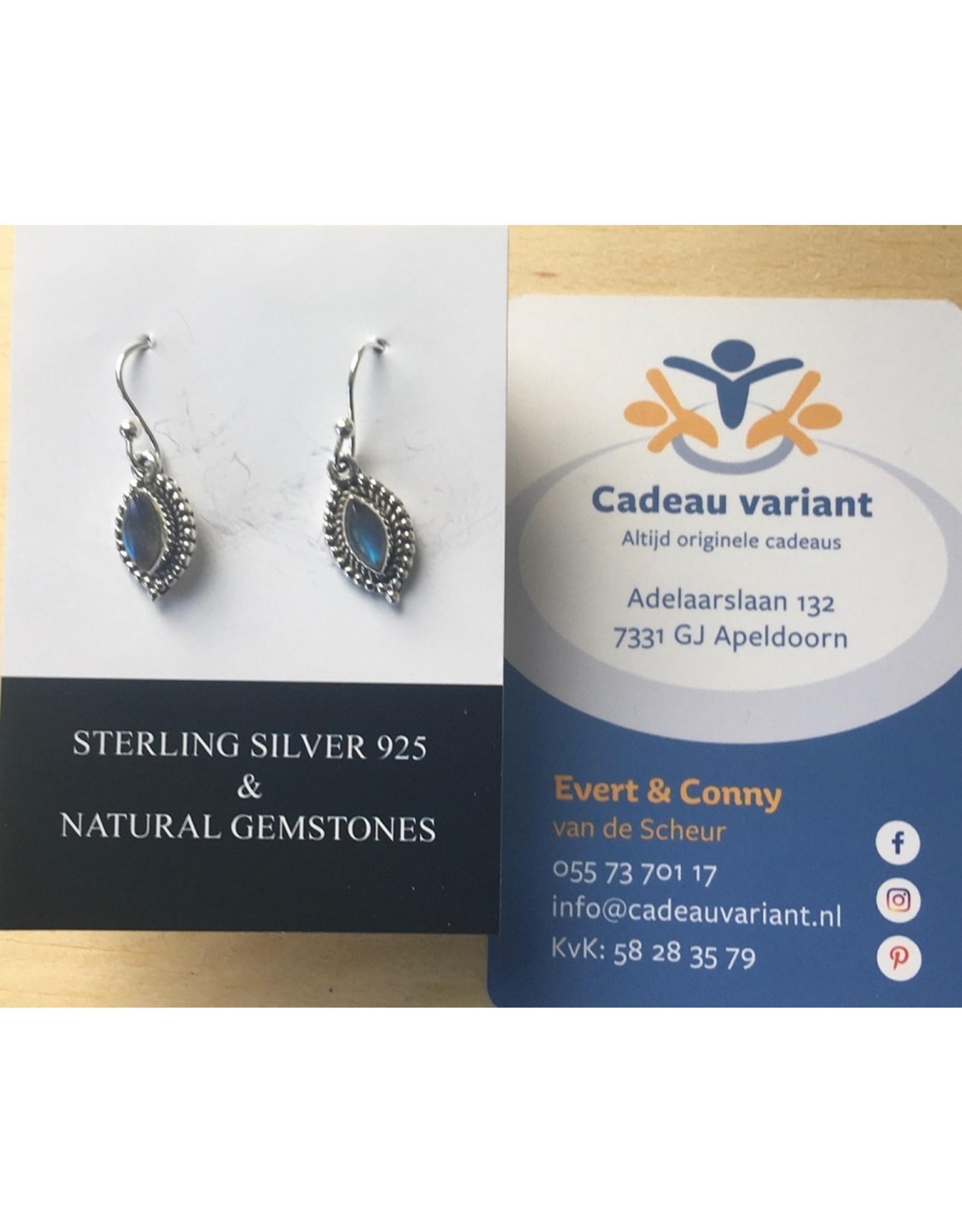 Labradoriet  bladvorm oorbellen zilver