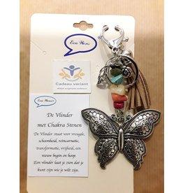 Vlinder tas/sleutelhanger met chakra stenen