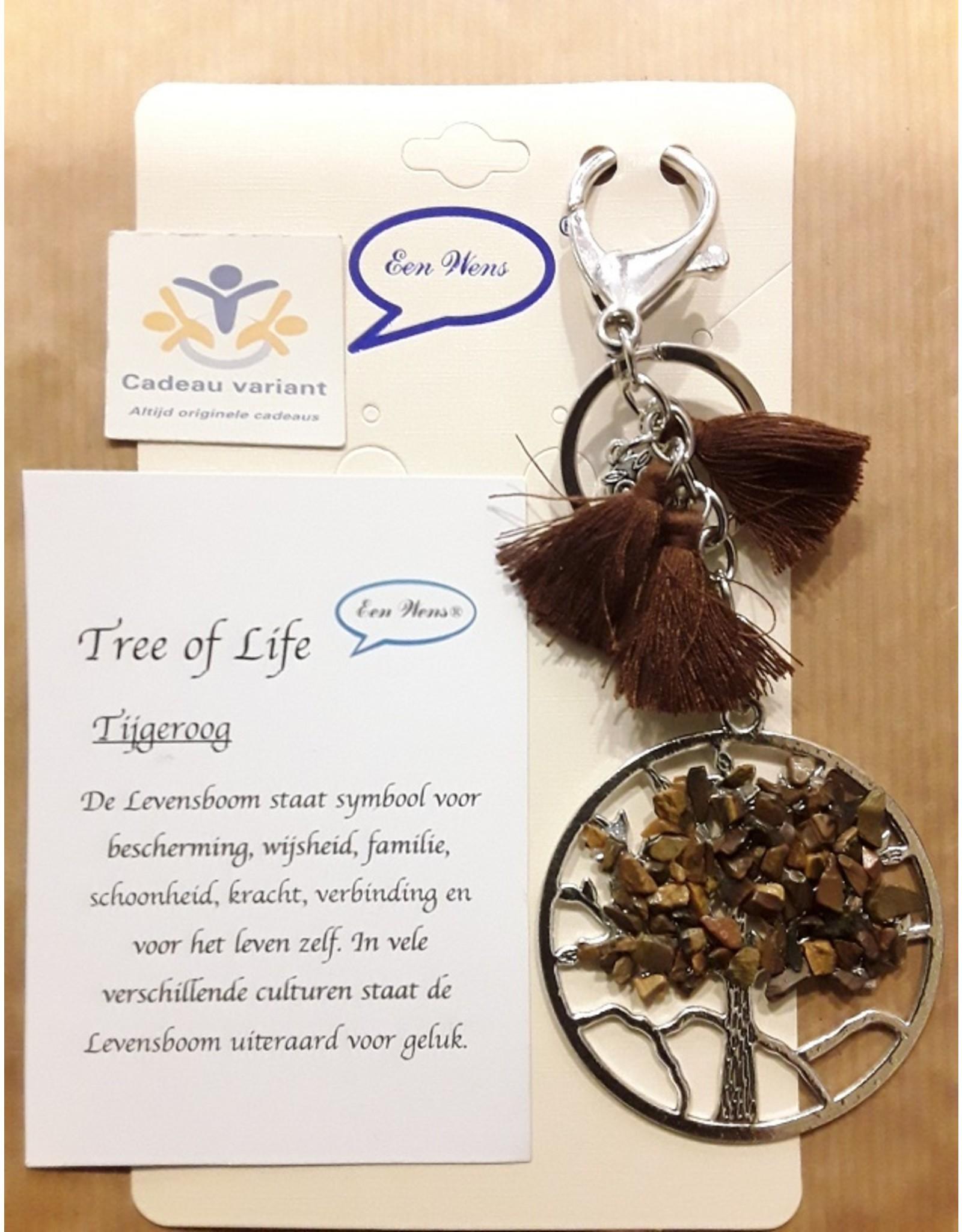 Tree of life tas/sleutelhanger met tijgeroog edelstenen