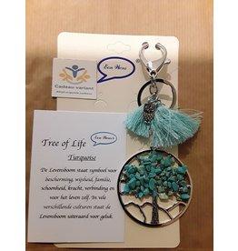 Tree of life tas/sleutelhanger met turquoise edelstenen